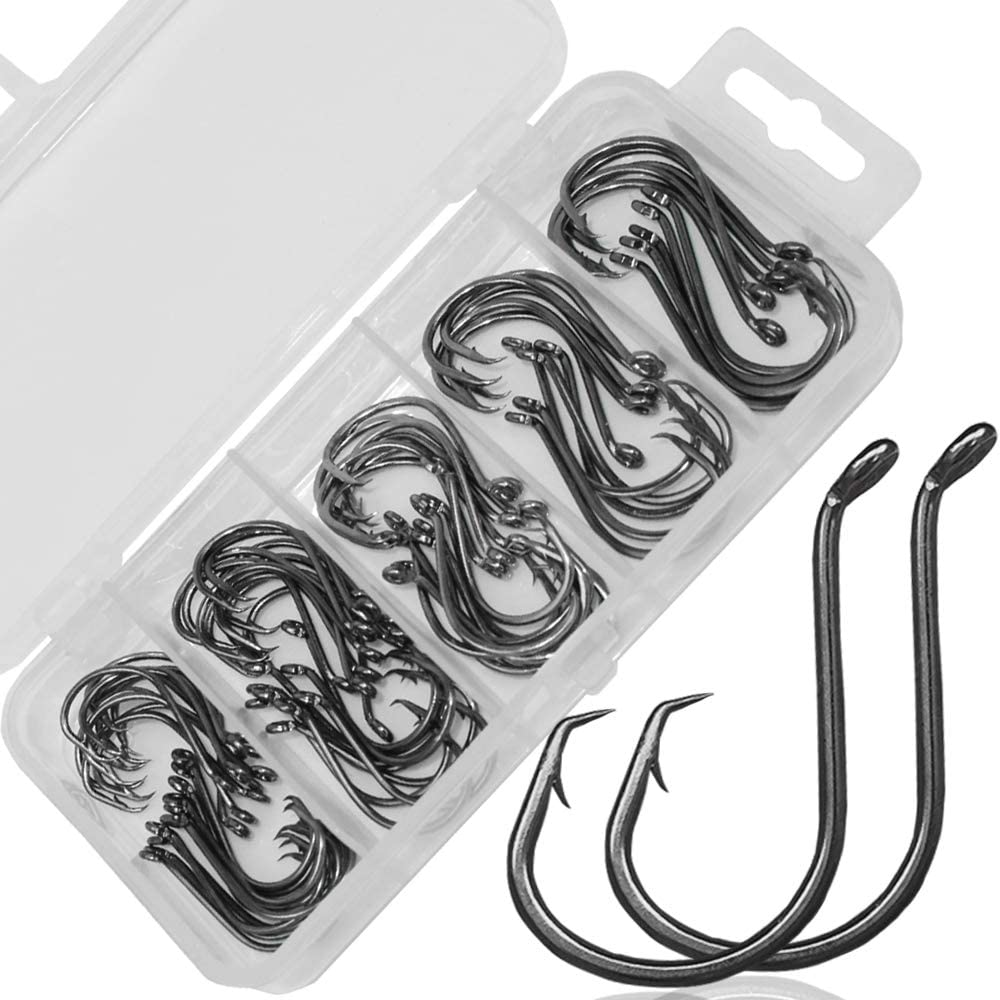 Drasry Fishing Hooks Set High Carbon Steel Jig Bait Sharp Fish Hook for Saltwater Freshwater