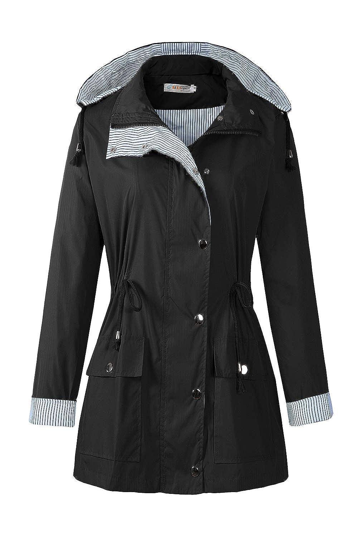 Black1 BBX Lephsnt Rain Coats for Women Lightweight Rain Jacket Active Outdoor Trench Coat