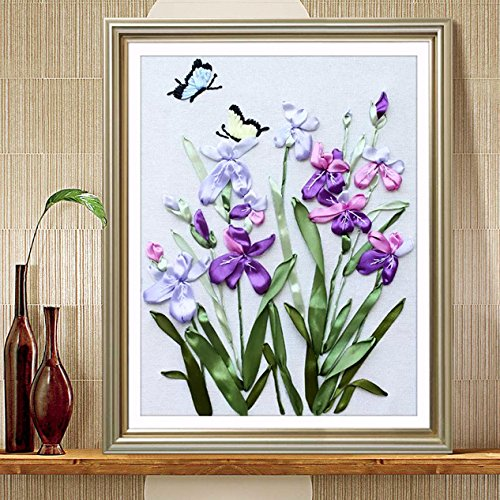 Ribbon Embroidery Kit For Beginner Flower Design DIY Home Wall Decor Orchids