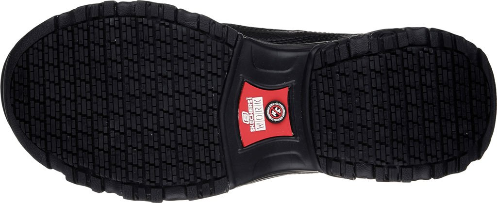 Skechers for Work Women's D'Lites Slip-Resistant Pooler Work Shoe B01M028RNQ 5.5 C US|Black Embossed Leather/Trim