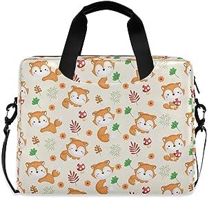 ALAZA Cute Fox Animal Print Laptop Case Bag Sleeve Portable Crossbody Messenger Briefcase w/Strap Handle, 13 14 15.6 inch