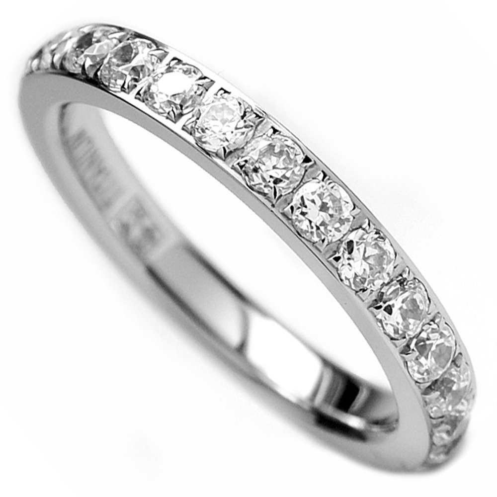 3MM Ladies Titanium Eternity Engagement Band, Wedding Ring with Pave Set Cubic Zirconia Size 7