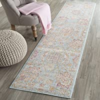 Safavieh Sevilla Collection SEV814C Light Blue and Multi Silky Viscose Distressed Runner (21 x 8)