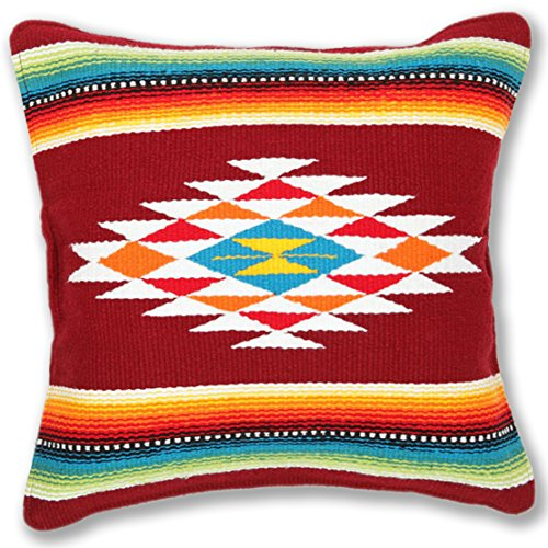 Serape Throw Pillow Cover, 18 X 18, Hand Woven in Southwest and Native American Styles. 1