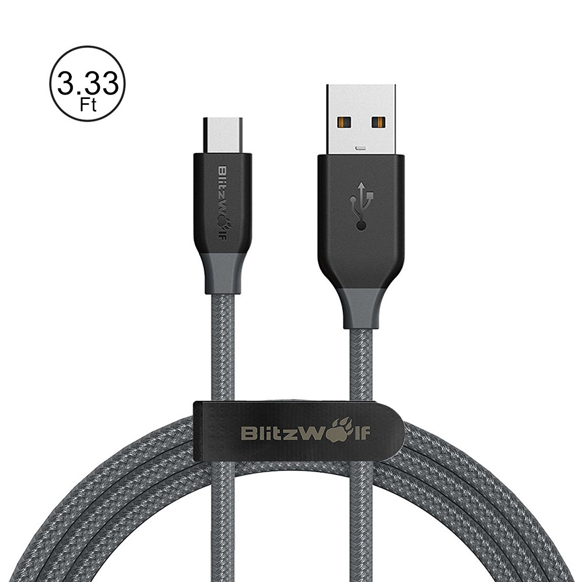 Micro USB Cable Braided, BlitzWolf 1m Nylon Android Charger with magic tape strap Fast Charging Tangle Free for Android, Samsung Galaxy S7 HTC Xperia Sony Nokia Kindle Tablets Power Bank(Black&Grey)