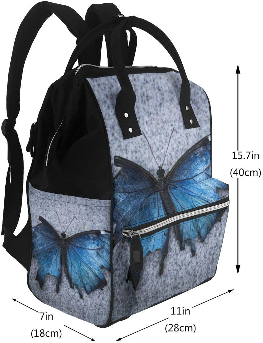 AneligerMAmi Diaper Bag Backpack Blue Torn Wing Butterfly Insulated Impermeable Noble Mommy Backpack For Camping