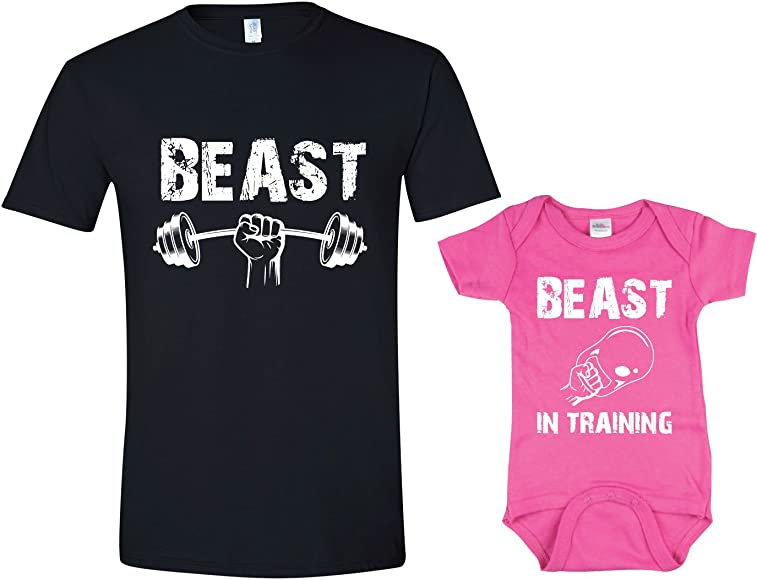 9df93f91f Amazon.com: Texas Tees Beast In Training Matching Father Daughter ...