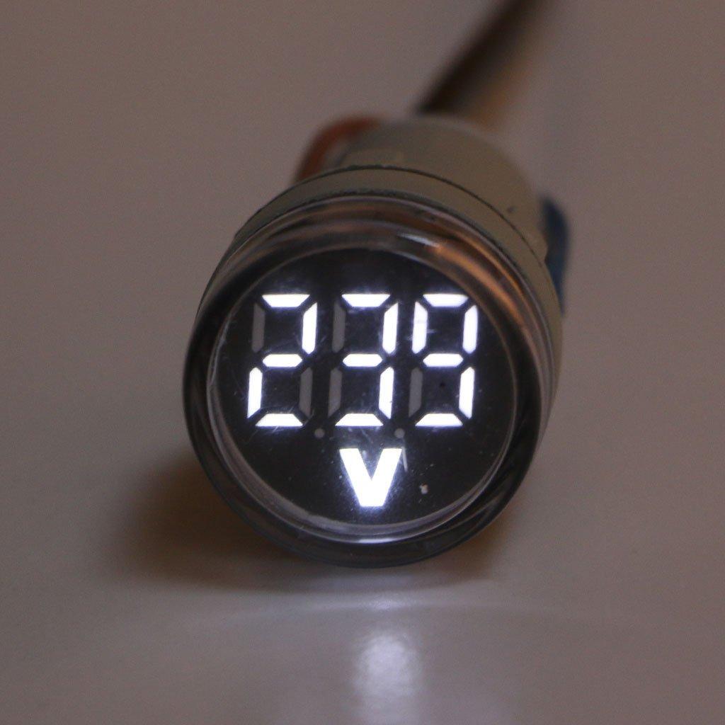 22 mm AC 60-500V Volt/ímetro Panel LED Pantalla digital Medidor de voltaje Redondo Rojo Blanco Azul Verde Amarillo Volmeter para motocicletas Autom/óviles Autom/óviles Bicicletas Camiones Botes