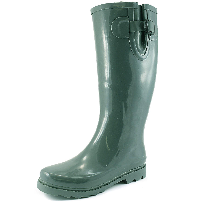 Women's Puddles Rain and Snow Boot Multi Color Mid Calf Knee High Waterproof Rainboots B00MI5PJQ0 6 B(M) US|Green