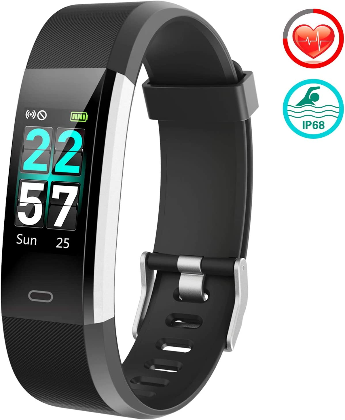 FITFORT Fitness Tracker Color Screen – 2019 Upgraded IP68 Activity Tracker Watch for Women with Heart Rate Monitor, Step Counter, Calorie Counter, Pedometer Watch with 14 Sports Modes for Men Kids