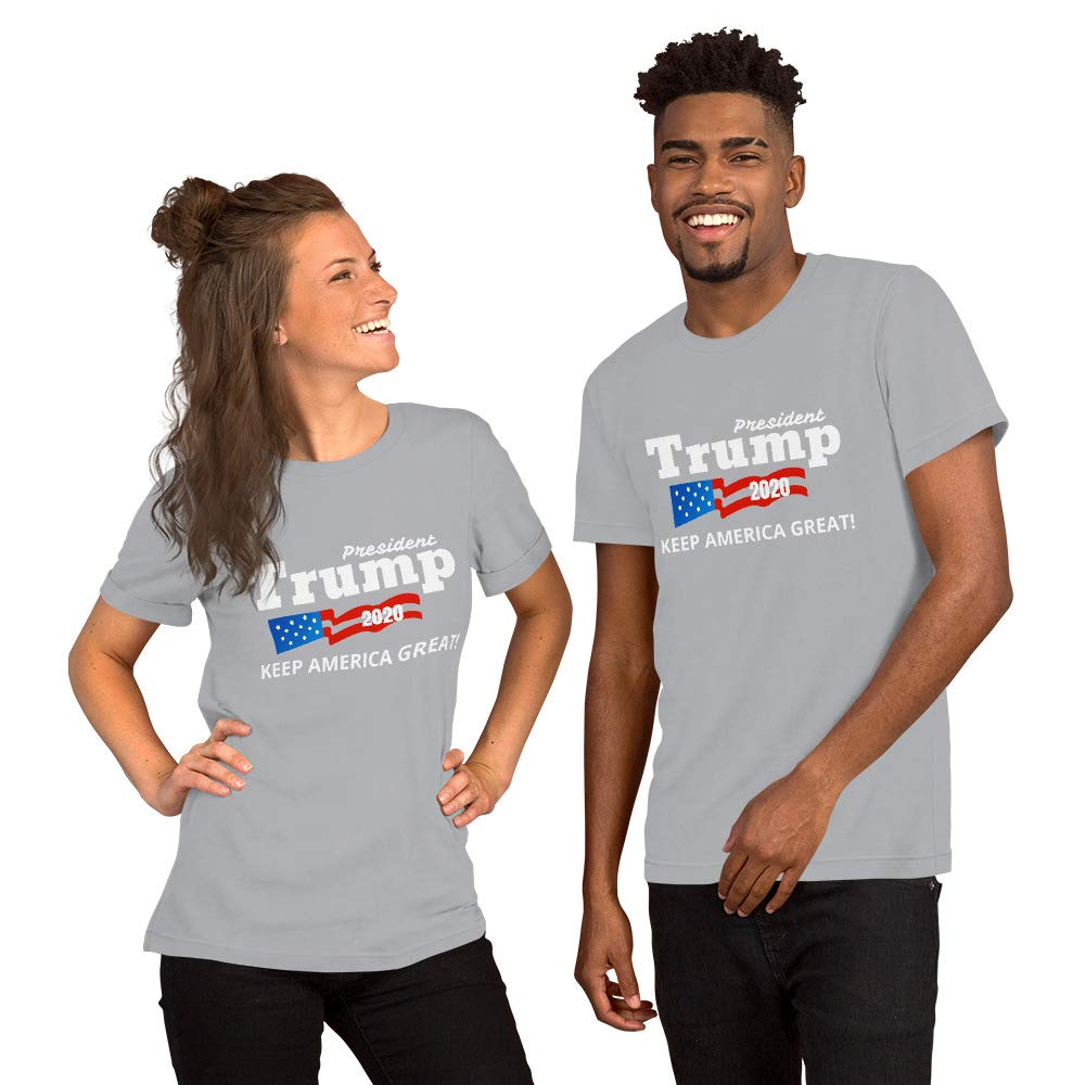 Trump 2020 Keep America Great Bella Canvas 3001 Unisex Short Sleeve Jersey T-Shirt with Tear Away Label