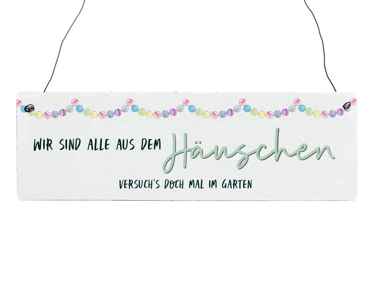 Interluxe Holzschild Vintage Wir Sind Alle aus Dem H/äuschen Gartentor Garten Geschenkidee