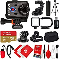 Veho Muvi K-Series K-2 PRO 1080p 12MP HD WiFi Waterproof Action Camera with 64GB + Monopod + Stabilizing Hand Grip + LCD + Carrying Bag + Floating Grip + Head Strap + Tripod Mount VCC-007-K2PRO