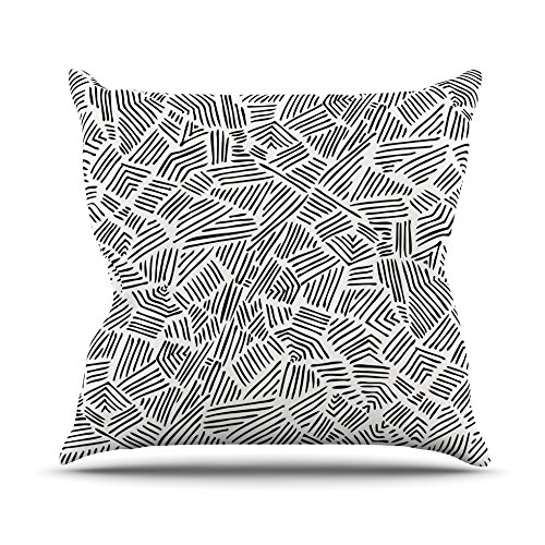 16 by 16 Kess InHouse Pom Graphic Design Inca Lines Throw Pillow Black Illustration