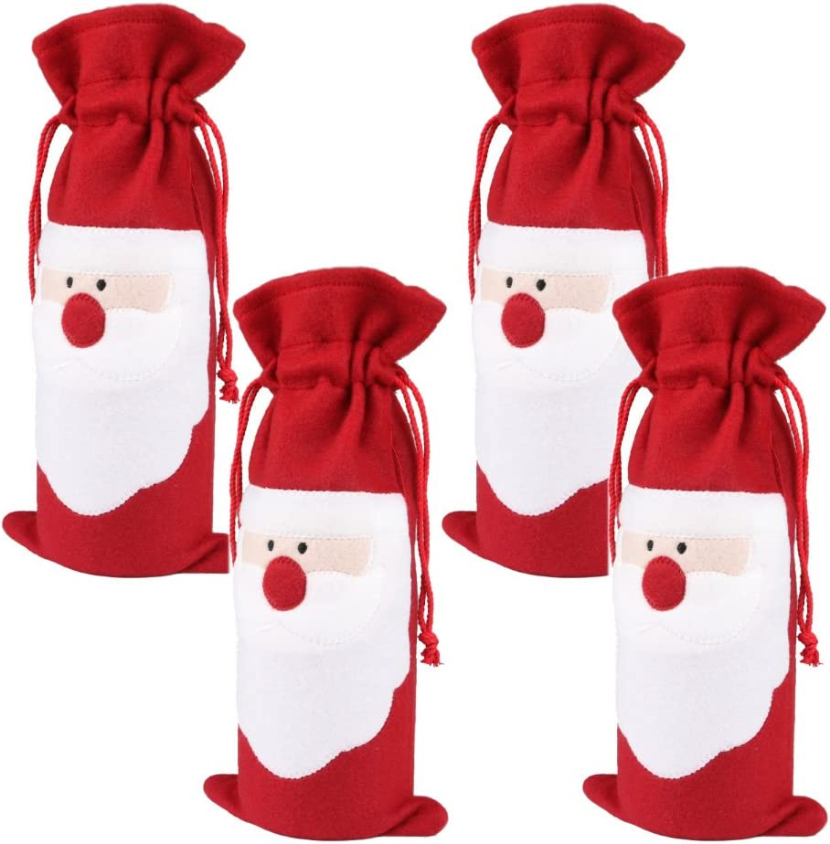 Amazon Com Arlai Pack Of 4 Christmas Wine Gift Bags Drawstring Christmas Red Wine Bottle Cover Bags Everything Else