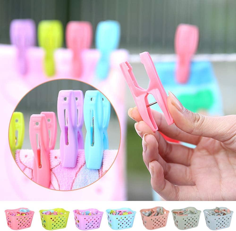 Souarts 30pcs Pinces /à Linge en Plastique Multifonctions Clips Pinces avec Un Panier de Rangement Coupe-Vent