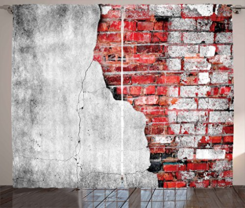 Art Tile Set (Ambesonne Red and Black Curtains, Cracked Old Spooky House Wall with Tiles Grunge Street Art Image, Living Room Bedroom Window Drapes 2 Panel Set, 108W X 84L Inches, Light Grey and White)