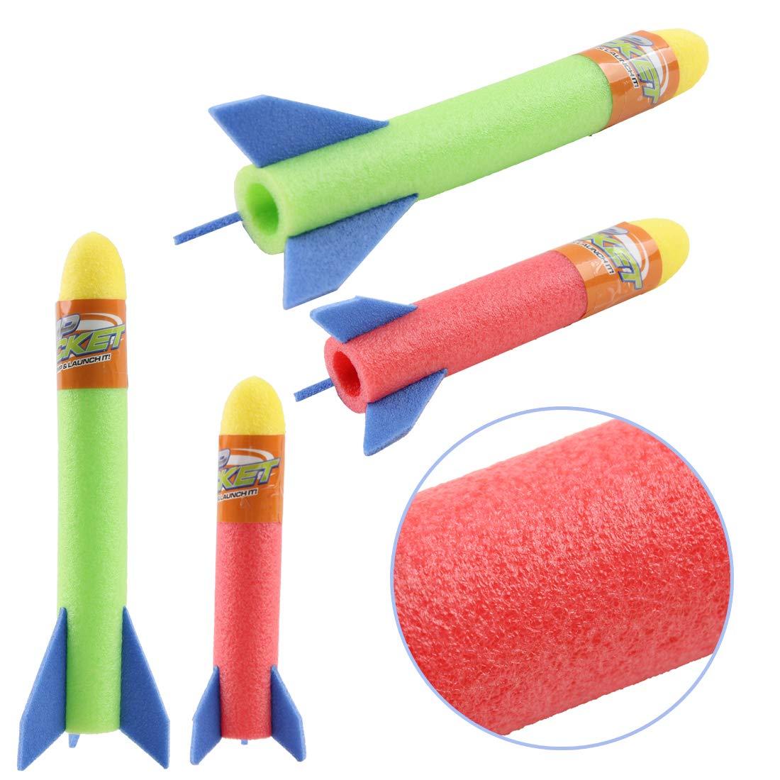 deAO Lanzador de Cohetes Infantil Salta y Lanza Cohetes Playset Conjunto Juego de Ciencia Incluye Cohetes de Goma Espuma para Interiores y Exteriores