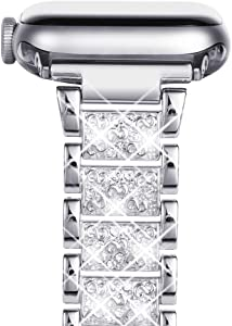 NewWays Compatible for Apple Watch Band 42mm Women, Sparkling Bling Bracelet for Apple Watch Band 44mmSeries 6 SE Series 4 Series 5 iwatch Bands 42mm Womens (Carve-Silver)