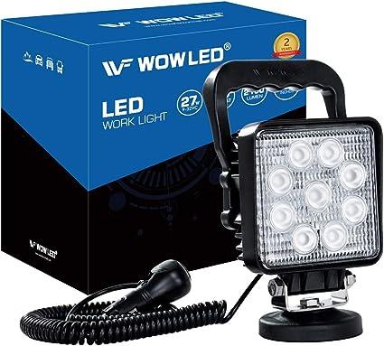 Lámpara LED de la marca WOWLED, de 27 W, portátil, lámpara de pie con base magnética para coche, todoterreno, camión, barco, tractor, vehículos de ingeniería, mantenimiento, 9-32 V: Amazon.es: Coche y moto