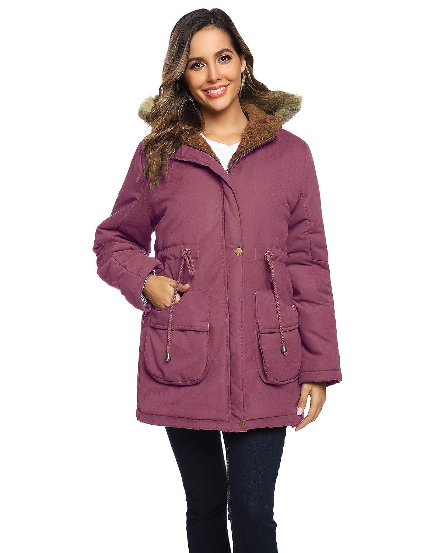 Womens Maternity 3 in 1 Thickened Outwear Fleece Lined Coat Winter Warm Hooded