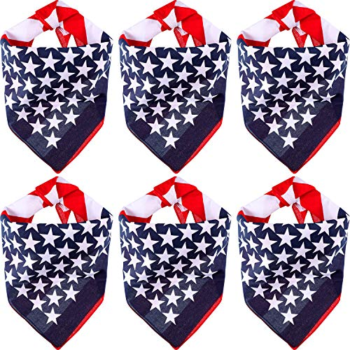 Weewooday USA Dog Bandanas American Flag Bandanas Patriotic Dog Kerchief Pet Scarf for 4th of July Dogs Cats Pets Accessories (12 Pieces) ()