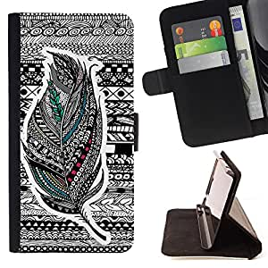Cat Family ???¡¯?¡­??nico Dise???¡¯???¡Ào caja de la PU billetera de cuero - FOR Samsung ALPHA G850 - Aztec Vintage Feather -