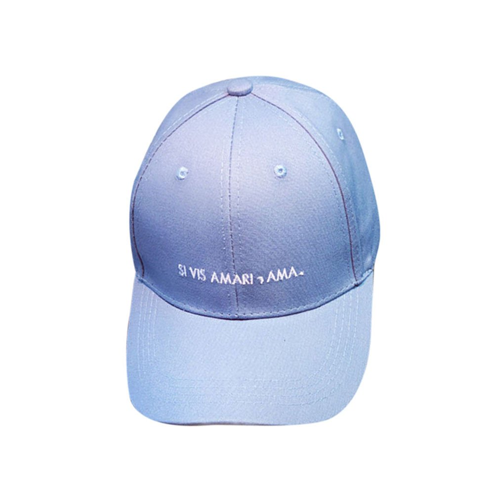 Womens Mens Baseball Outdoor Sports Running Caps Adjustable Hats Solid Embroidery Simple Hats Cotton Washed Caps (Blue)