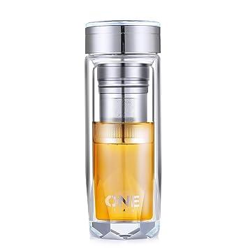 Oneisall - Vaso de cristal de doble pared para termos, 340 ml, taza de