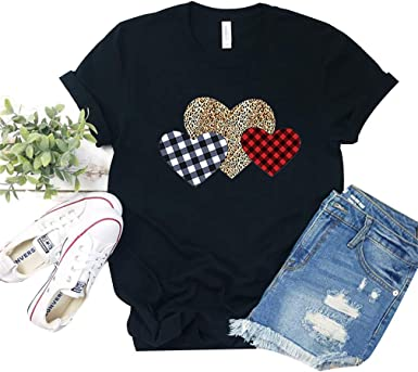 Valentines Day T Shirt for Women,Casual Leopard Heart Printing Short Sleeve T-Shirt Blouse Shirt Graphic Tees Tops
