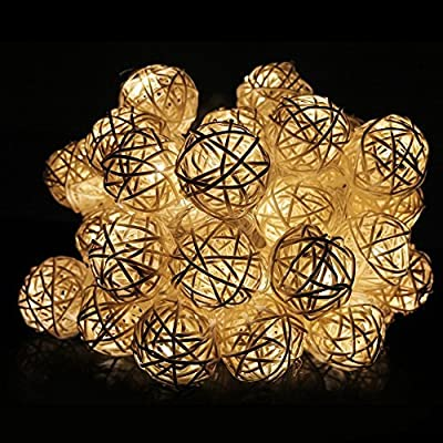 Battery Powered 2M 20 LED Rattan Ball String Lights, Christmas, Partys, Wedding & Outdoor String Lights