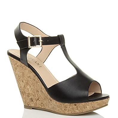 ed0499b7dad6 Womens ladies high heel wedge platform t-bar cork buckle sandals size 6 39   Amazon.co.uk  Shoes   Bags