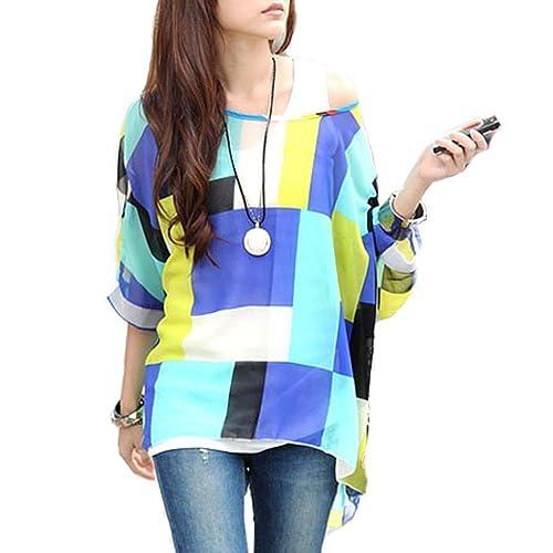 LATH.PIN Mujeres Bohemian 3/4 Sleeve Chiffon Blouse Off Shoulder T-Shirt