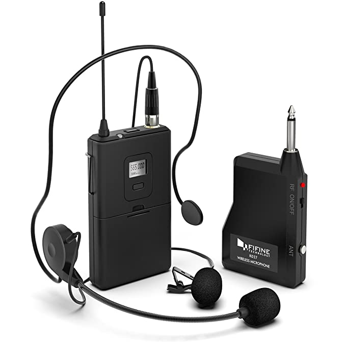 Review Wireless Microphone System,Fifine Wireless Microphone set with Headset & Lavalier Lapel Mics, Beltpack Transmitter&Receiver,Ideal for Teaching, Preaching and Public Speaking Applications.(K037B)