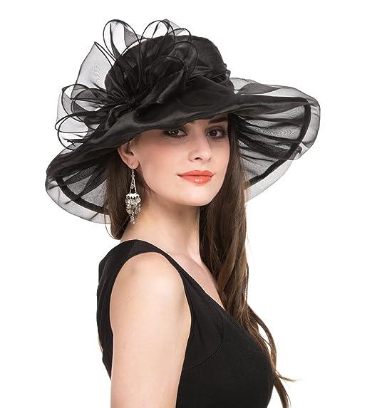 d5c58b6c46c2a SAFERIN Women s Organza Church Kentucky Derby Fascinator Bridal Tea Party  Wedding Hat (2-Black