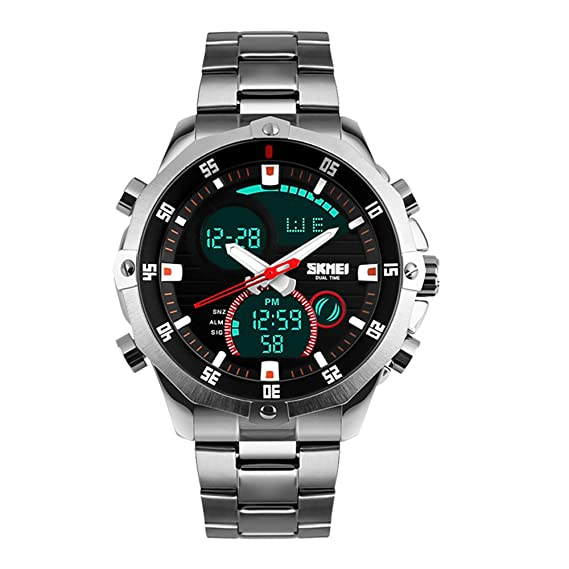 ae5f9489fb Image Unavailable. Image not available for. Color: SKMEI Mens Military  Wrist Watch Analog Digital Watch Stainless Steel ...