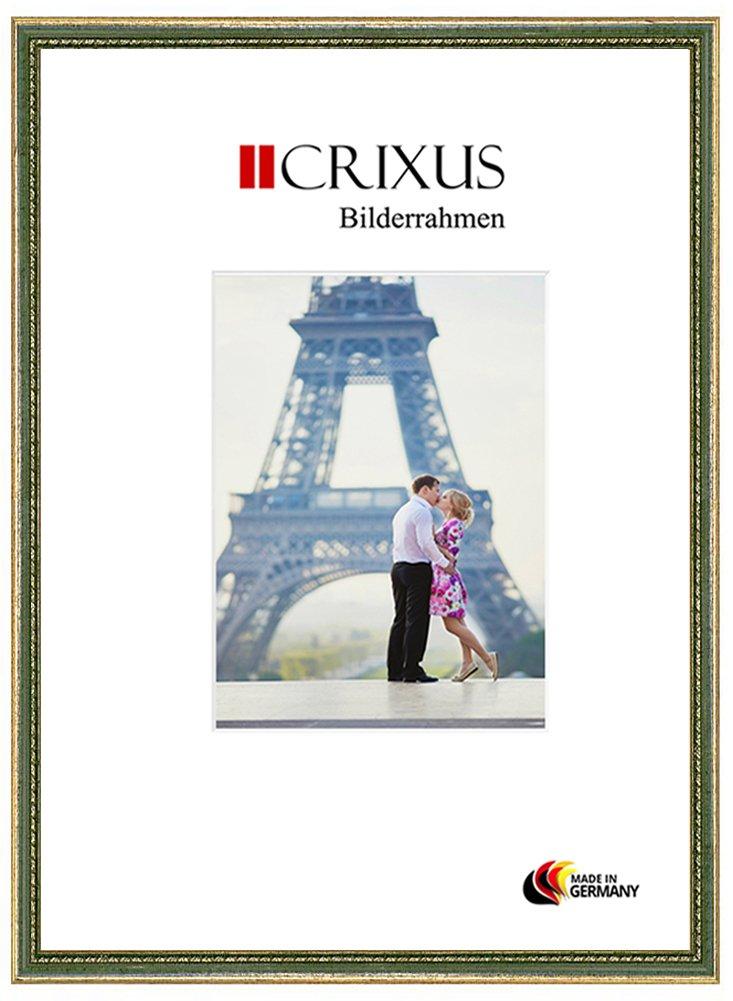 Crixus26 Echtholz Bilderrahmen für 63 x 93 cm Bilder, Farbe  Gold Grün, Massivholz Rahmen in Maßanfertigung mit Acryl Kunstglas (Bruchsicher) und MDF Rückwand, Rahmen Breite  26mm, Aussenmaß  66,4 x 96,4 cm