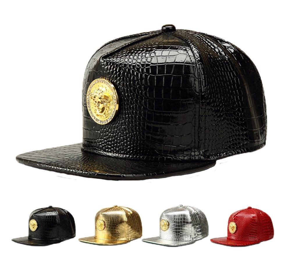 ab63f8d925df4 Amazon.com  NUKIC Alligator grain Diamond Medusa 3D Metal Logo Serpentine  Hat Baseball Cap Black   Clothing