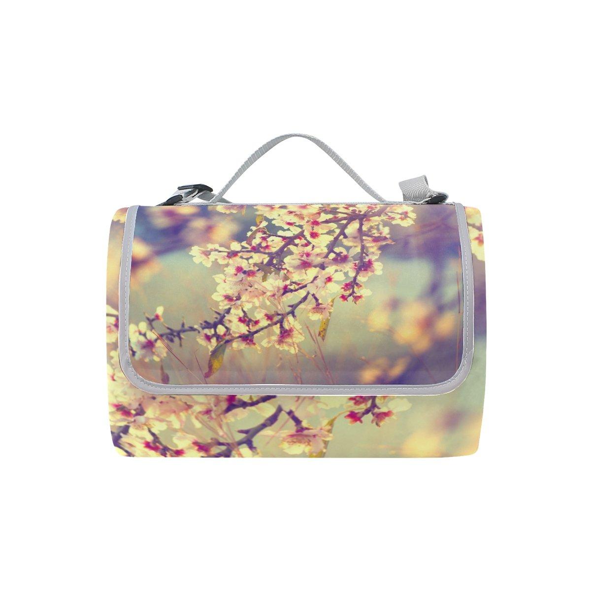 COOSUN Manta de picnic con diseño de y flores de ciruelo, resistente al moho y de resistente al agua, ideal para picnics, playas, senderismo, viajes, viajes y excursiones 4504f9