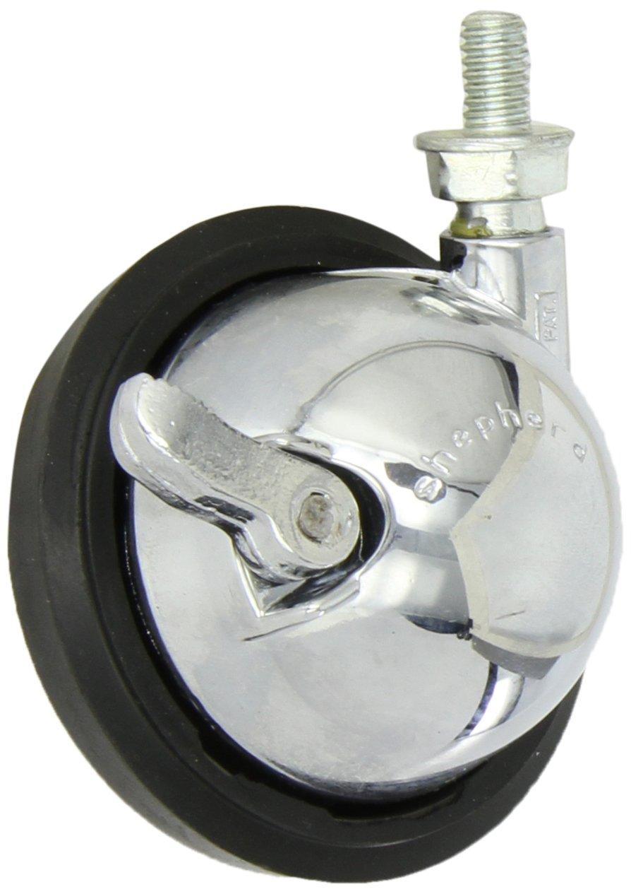 Shepherd Saturn Series 3' Diameter Rubber Wheel Swivel Ball Caster with Brake, 5/16' Diameter x 1/2' Length UNC18 Threaded Stem, 100 lbs Capacity, Bright Chrome Finish 5/16 Diameter x 1/2 Length UNC18 Threaded Stem Shepherd Caster Corporation 96603