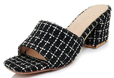 2adcbaf1628be SHOWHOW Women's Simple Square Toe Mid Chunky Heel Checkered Mules Sandals Black  4 B(M