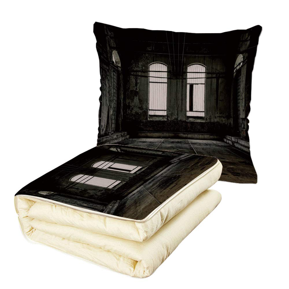 iPrint Quilt Dual-Use Pillow Industrial Decor Vintage Grunge Floor Walls and Windows Messy Aged Wrecked Workshop Decorative Multifunctional Air-Conditioning Quilt White Dark Brown
