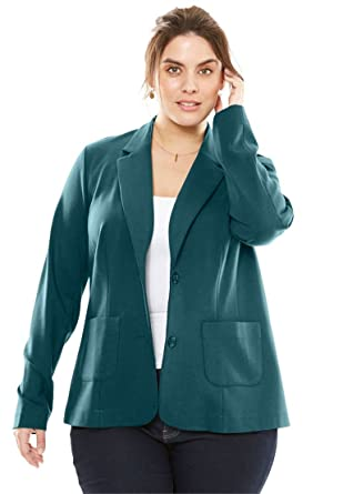 c7e095c3f63c5 Jessica London Women s Plus Size Ponte Knit Blazer with Notch Collar at Amazon  Women s Clothing store