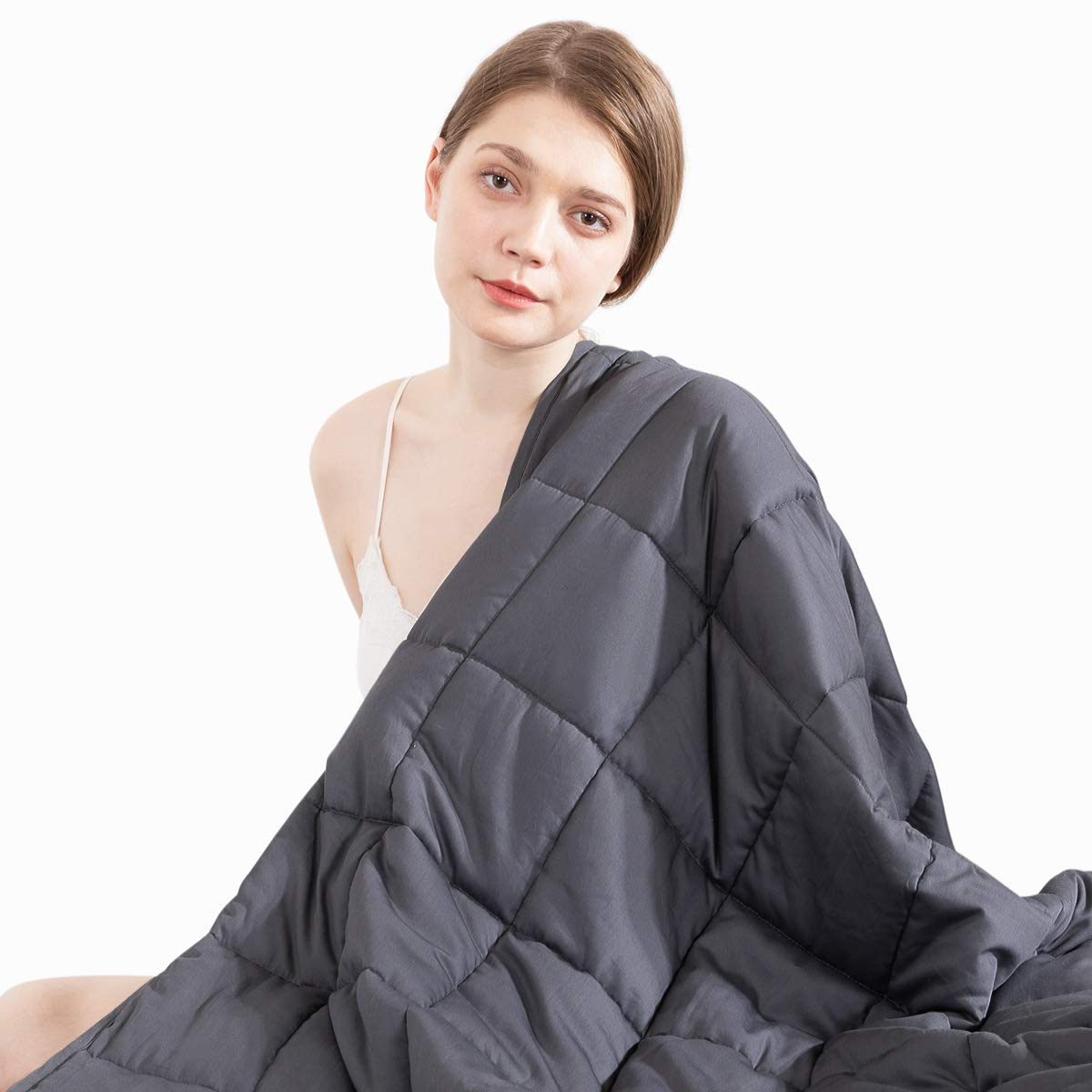 Beauty Kate Weighted Blanket Adult 15 lbs 60''x80'' Queen Size, 100% Organic Cotton with Glass Beads, Heavy Blanket for Improved Sleep & Relieving Anxiety, Grey by Beauty Kate