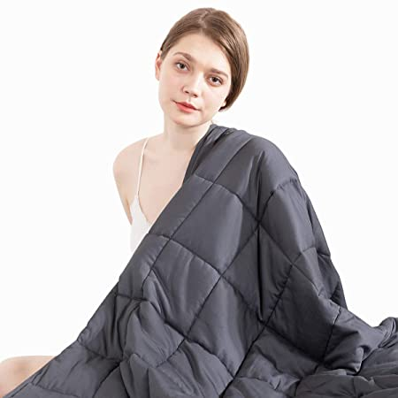 Beauty Kate Weighted Blanket Adult 20 lbs 60''x80'' Queen Size, 100% Organic Cotton with Glass Beads, Heavy Blanket for Improved Sleep & Relieving Anxiety, Grey