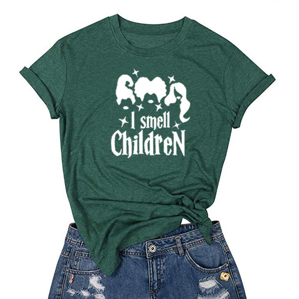 Sisit Women Casual Halloween Print Short Sleeves O-Neck Loose T-Shirt,I Smell Chidren Printed Round Neck Casual Short Sleeve Topblouse