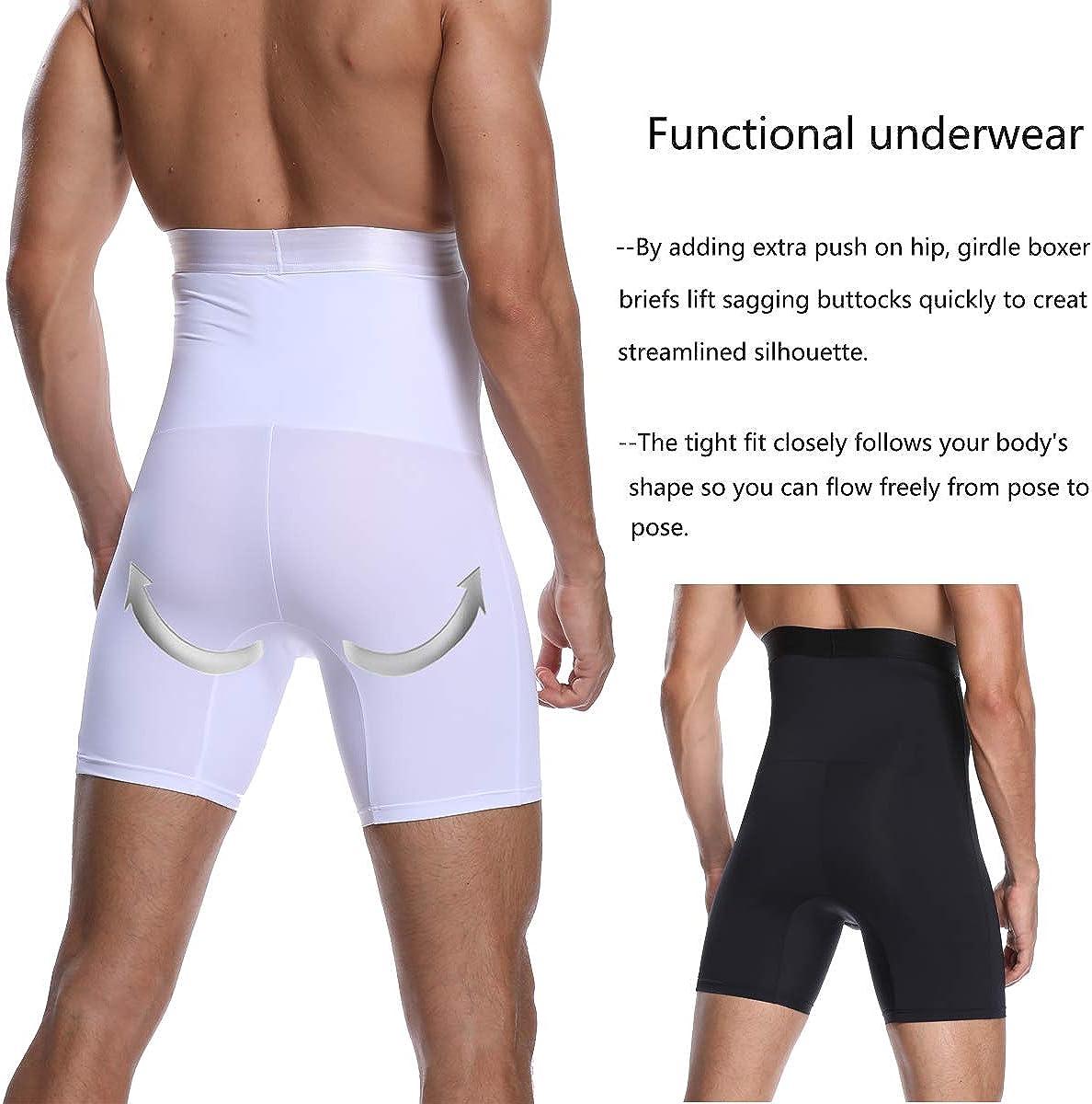 Mens Boxers Tummy Control Body Shaper Waist Trainer High Waist Slimming Pants Shapewear Shorts Underwear Briefs