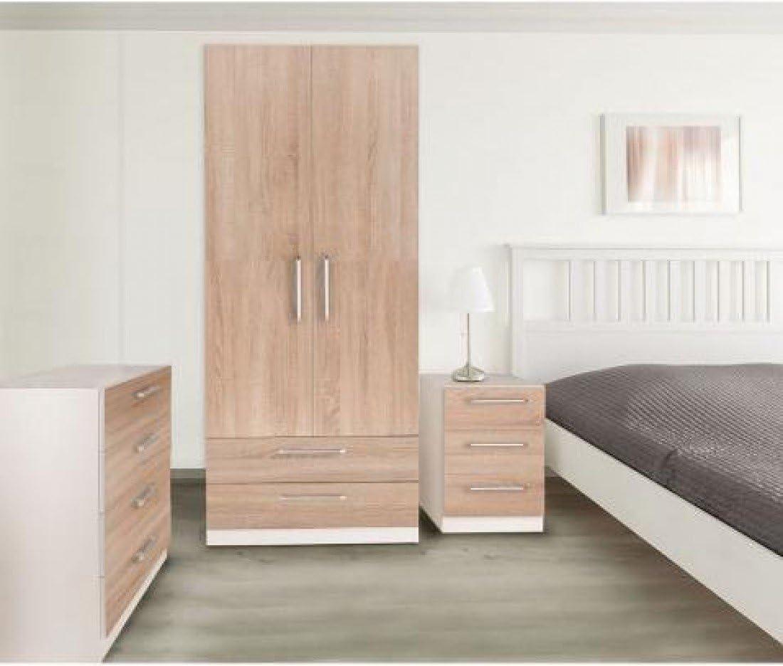 White /& Oak Wardrobes Euston Bedroom Furniture Range Bedside Drawers