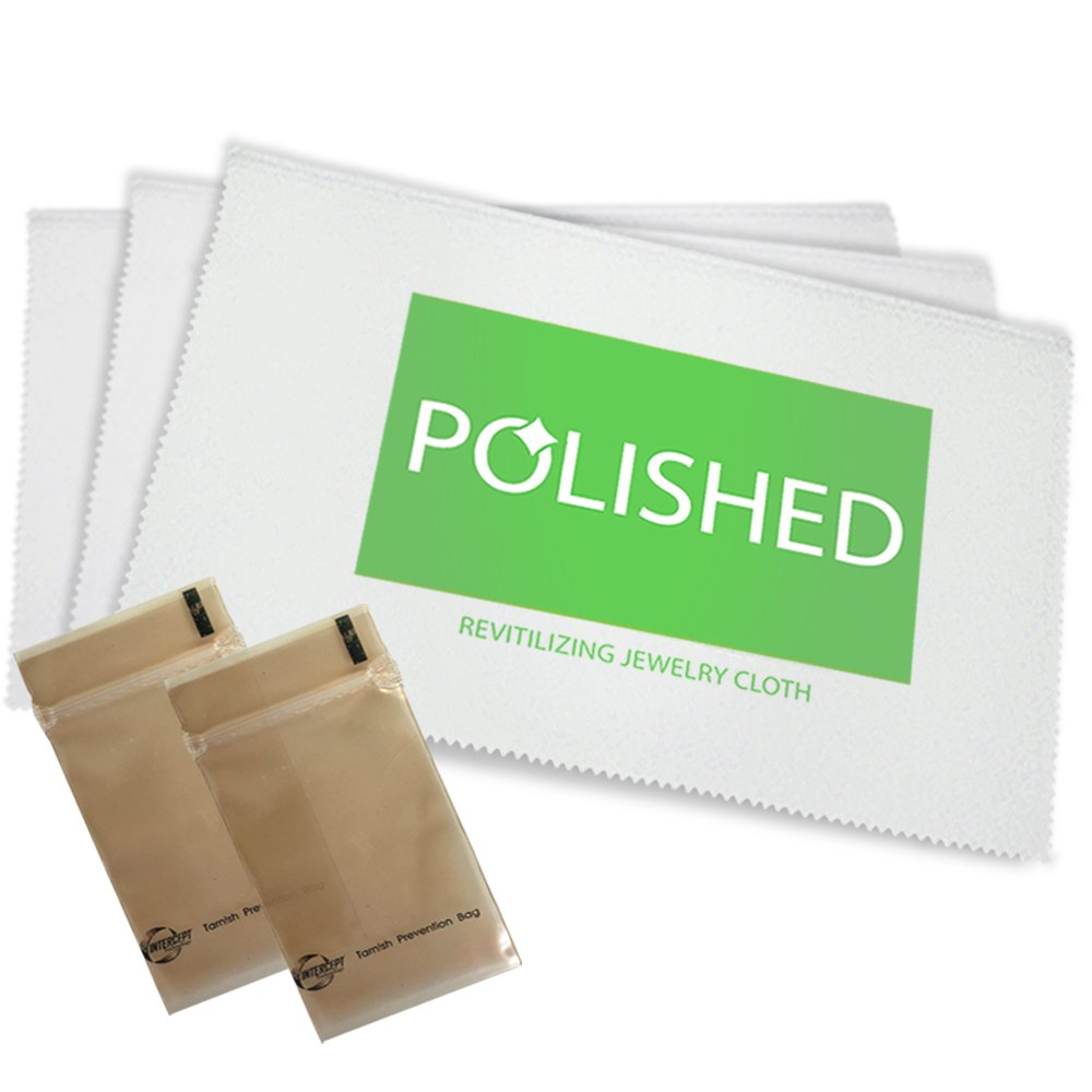 Polished Jewelry Polishing Cloths, Professional Shine in 1-Minute! Set of 3 Jewelry Cleaner Cloths + 2 Anti-Tarnish Storage Bags | Soft Cotton, Non-Scratch Ring Cleaner + Gold, Diamond, Silver Cleaner Daley Mint A-POP-C