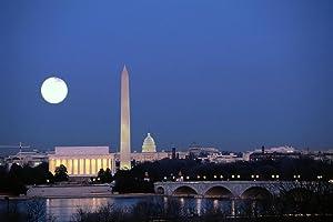 Washington DC Skyline at Night with Full Moon Photo Photograph Cool Wall Decor Art Print Poster 36x24